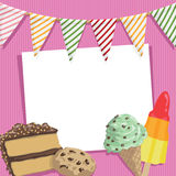 Party card. With tasty treats and bunting, with clipping mask Stock Images
