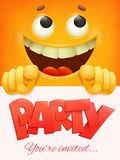 Party card template with yellow smiley face emoticon background. Stock Photo