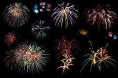 Party and carnival fireworks over dark sky. Holiday fireworks of various colors over night sky Stock Image