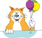 Party Cat. Cartoon image of a cat holding 3 balloons Royalty Free Stock Photography