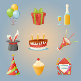 Party Celebrate Birthday Icons and Symbols Set 3d Realistic Cartoon Design Vector Illustration. Party Celebrate Birthday Icons and Symbols Set Realistic Cartoon Stock Images
