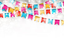 Party celebration background. Celebrate banner. Party flags with confetti. Vector illustration Stock Photography
