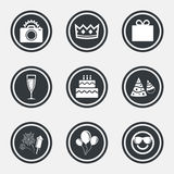 Party celebration, birthday icons. Fireworks. Party celebration, birthday icons. Fireworks, air balloon and champagne glass signs. Gift box, cake and photo Royalty Free Stock Image