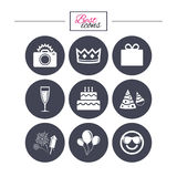 Party celebration, birthday icons. Fireworks. Party celebration, birthday icons. Fireworks, air balloon and champagne glass signs. Gift box, cake and photo Royalty Free Stock Photo
