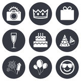 Party celebration, birthday icons. Fireworks. Air balloon and champagne glass signs. Gift box, cake and photo camera symbols. Gray flat circle buttons. Vector Stock Photography