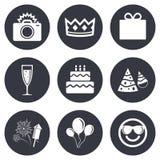 Party celebration, birthday icons. Fireworks Stock Photography