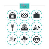 Party celebration, birthday icons. Fireworks. Party celebration, birthday icons. Fireworks, air balloon and champagne glass signs. Gift box, cake and photo Royalty Free Stock Images