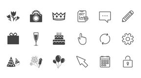 Party celebration, birthday icons. Fireworks. Stock Photography