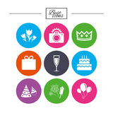 Party celebration, birthday icons. Fireworks. Royalty Free Stock Photography
