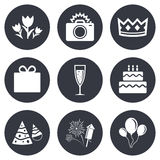 Party celebration, birthday icons. Fireworks Royalty Free Stock Images
