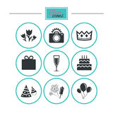 Party celebration, birthday icons. Fireworks. Royalty Free Stock Images