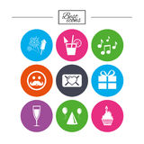 Party celebration, birthday icons. Music notes. Royalty Free Stock Photos