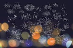Cocktails and fireworks mixed up over nighttime city lights boke. Party and celebration concept: cocktails and fireworks mixed up over nighttime city lights Royalty Free Stock Photos