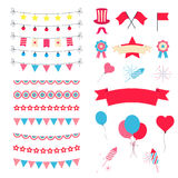 Party And Celebration Design Elements collection. Festive Event and Show icons set. Birthday objects. With carnival Royalty Free Stock Photography