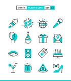 Party, celebration, fireworks, confetti and more. Plain and line icons set, flat design, vector illustration Stock Photo