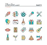 Party, celebration, fireworks, confetti and more, thin line colo. R icons set, vector illustration Stock Photos