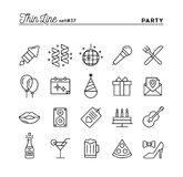 Party, celebration, fireworks, confetti and more, thin line icon. S set, vector illustration Royalty Free Stock Photography