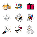 Party celebration fireworks icons set. Vector illustration Stock Photo