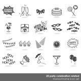 Party celebration food drink 20 icon set. 20 party celebration food drink dress decor elements monochrome isolated icon set on white background royalty free illustration