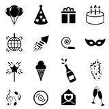 Party and celebration icon set. In black Stock Images