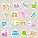 Party and Celebration icon set. Stock Photo