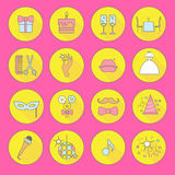 Party_and_Celebration_icon_set_Vector_silhouette_illustration 库存照片