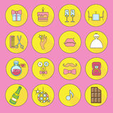 Party and Celebration icon set.Vector silhouette illustration Stock Photos