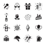 Party and Celebration Icons set. Black on a white background royalty free illustration