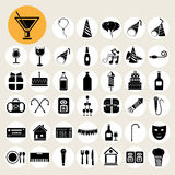 Party and Celebration icons set. Stock Photo
