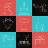 Party and celebration icons set Royalty Free Stock Image