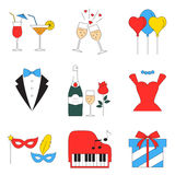 Party and celebration icons set vector Royalty Free Stock Photos