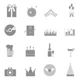 Party and celebration icons set on white backgroun Stock Images