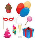 Party  and Celebration Icons with White Background Royalty Free Stock Photography