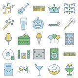 Party and Celebration line and Fill Isolated Vector Icons vector illustration