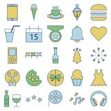 Party and Celebration line and Fill Isolated Vector Icons stock illustration