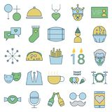 Party and Celebration line and Fill Isolated Vector Icons royalty free illustration
