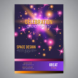 Party celebration poster with space design. In pink, purple glittering stars and particles, glowing and shiny elements at night sky, magic festive background Stock Photography