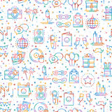 Party celebration seamless pattern. Birthday, holidays, event, carnival festive. Party decor elements thin icons Royalty Free Stock Photo
