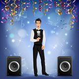 Party Celebration Singer Realistic. Festive presentation event party celebration music concert realistic image with singer onstage loudspeakers serpentine Royalty Free Stock Image