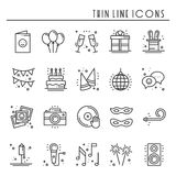 Party celebration thin line icons set. Birthday, holidays, event, carnival festive. Basic party elements icons Stock Photos