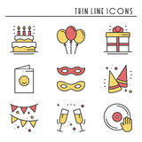 Party celebration thin line icons set. Birthday, holidays, event, carnival festive. Basic party elements icons Stock Images