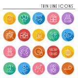 Party celebration thin line icons set. Birthday, holidays, event, carnival festive. Basic party elements icons Stock Image