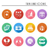 Party celebration thin line icons set. Birthday, holidays, event, carnival festive. Basic party elements icons Stock Photo