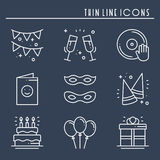 Party celebration thin line icons set. Birthday, holidays, event, carnival festive. Basic party elements icons Royalty Free Stock Photos