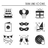 Party celebration thin line icons set. Birthday, holidays, event, carnival festive. Basic party elements icons Royalty Free Stock Image