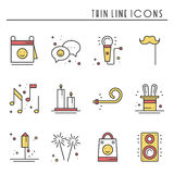 Party celebration thin line icons set. Birthday, holidays, event, carnival festive. Basic party elements icons Royalty Free Stock Images