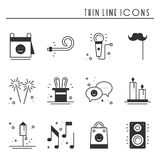 Party celebration thin line icons set. Birthday, holidays, event, carnival festive. Basic party elements icons Royalty Free Stock Photography