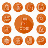 Party celebration thin line icons set. Birthday, holidays, event, carnival festive. Basic party elements icons Royalty Free Stock Photo