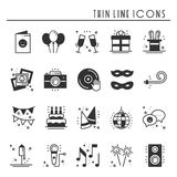 Party celebration thin line icons set. Birthday, holidays, event, carnival festive. Party elements icons collection Royalty Free Stock Photos