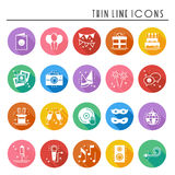 Party celebration thin line icons set. Birthday, holidays, event, carnival festive. Party elements icons collection Stock Photography